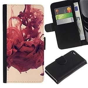 Abstracto rojo - la tarjeta de Crédito Slots PU Funda de cuero Monedero caso cubierta de piel Para Apple Apple iPhone 4 / iPhone 4S