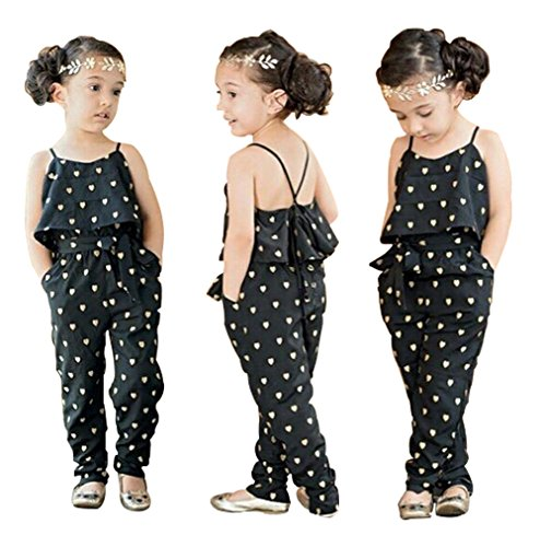 Price comparison product image Baby World Kids Girls Harness Heart-shaped Rompers Summer Jumpsuit Clothes (6T(advice 5 years), black)