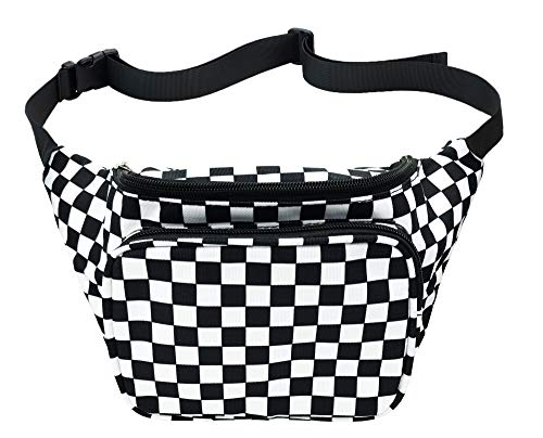 Fanny Pack for Men Women Quick Release Buckle Travel Sports Nylon Fanny Packs,Black and White Checkered (Black Checkered Belt)