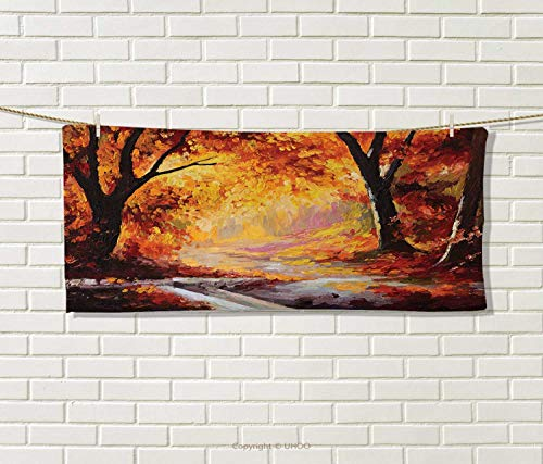 Anniutwo Country,Travel Towel,Paint a Forest Autumn Color Leaves Fall Time Sadness Season Theme Art,Quick-Dry Towels,Orange Brown Size: W 14'' x L 27.5'' by Anniutwo