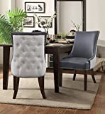 Iconic Home FDC2988-AN Brando Dining Side Accent Chair Pebble Grain PU Leather Linen Upholstered Nailhead Trim Tapered Solid Birch Legs Modern Transitional Set of 2, Grey