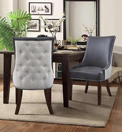 - Iconic Home FDC2988-AN Brando Dining Side Accent Chair Pebble Grain PU Leather Linen Upholstered Nailhead Trim Tapered Solid Birch Legs Modern Transitional Set of 2 Grey
