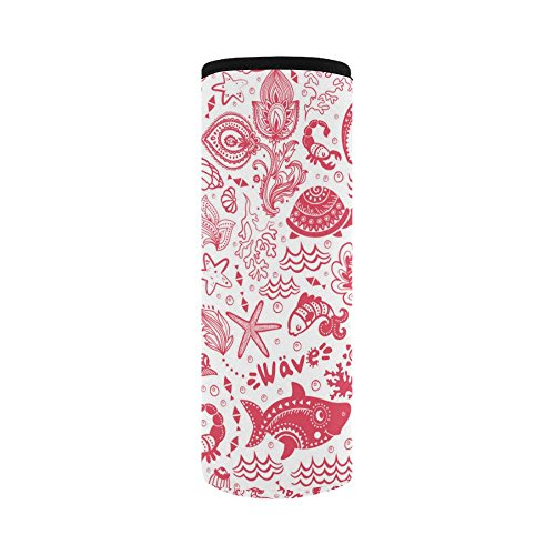 InterestPrint Red Ocean Fish Shell Neoprene Water Bottle Sleeve Insulated Holder Bag 16.90oz-21.12oz, Nautical Turtle Sport Outdoor Protable Cooler Carrier Case Pouch Cover with Handle by InterestPrint (Image #1)