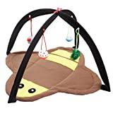 She-love Foldable Cat Play Toy Tent Mat Activity Center Pet Kitten Padded Bed with Hanging Balls and Mice (Bumblebee)