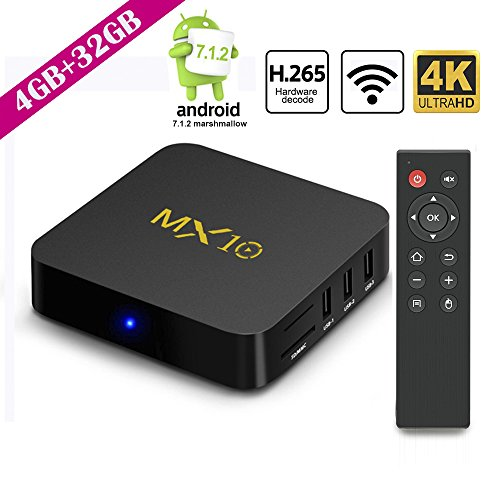 2018 Upgrade Android TV Box 4G+32GB Smart Digital 3D/4K/WIFI/H.265/UHD Quad Core 64 Bits Wireless Smart TV Box by SCS ETC… by SCS ETC