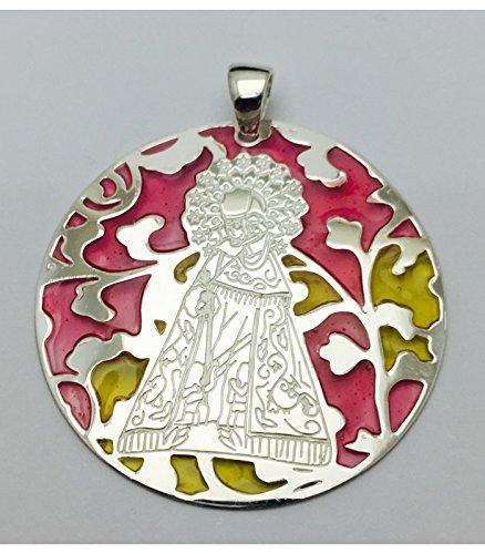 Médaille Vierge désemparés Argent Plaqué Or et Plaqué Or et émail 40mm