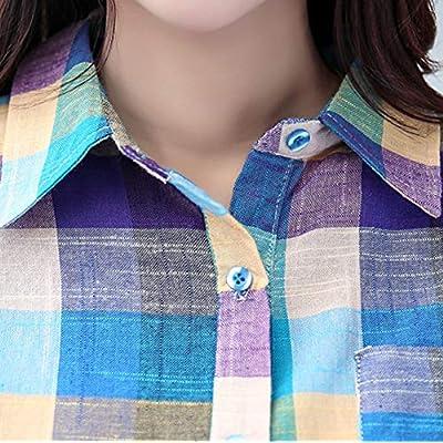 MEIbax Mujeres Camisa a Cuadros a Juego con Frente Abierta de Manga Larga con Estampado con Botón Casual de Cuadros Suelta Blusa Suéter Tipo Cardigan Sueltos Tops Sudaderas Abrigo Camisetas Superior: Ropa y accesorios