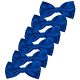 Boys Children Formal Bow Ties - 6 Pack of Solid Color Adjustable Pre Tied Bowties for Wedding Party (Royal Blue)