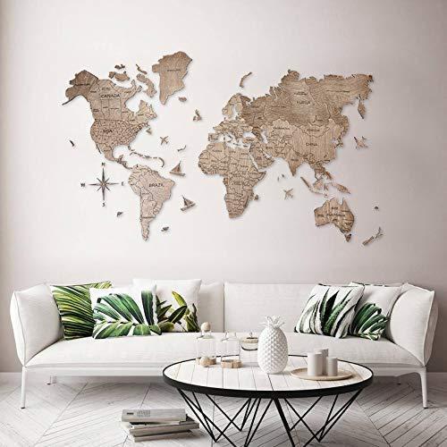 Enjoy The Wood World Map Wall Map Art Large Push Pin Map of the World Travel map Rustic Home decor Office decor Wall decor Living room modern design home 100x50cm, 150x90cm, 200x102cm ()