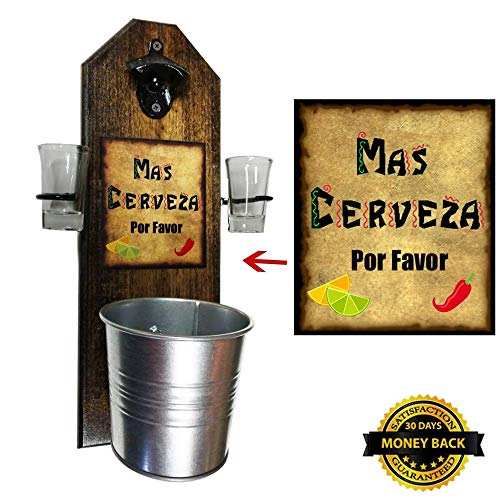 Deluxe Mas Cerveza Shot Glass Holder with 2 Shot Glasses, Bottle Opener and Cap Catcher - Handcrafted - Wall mounted 100% Solid Pine 3/4