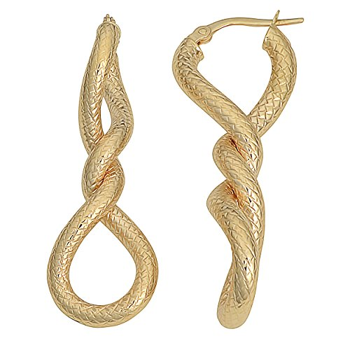 10k Yellow Gold Textured Twisted Elongated Hoop ()