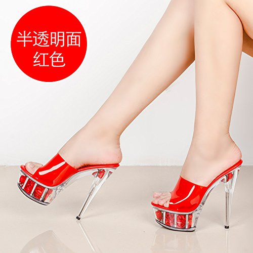 And With Water Thick And Ultra Transparent HGTYU Sandals Cool Thin 43Red Slippers Crystal Flowers Shoes Table New UTXwq7