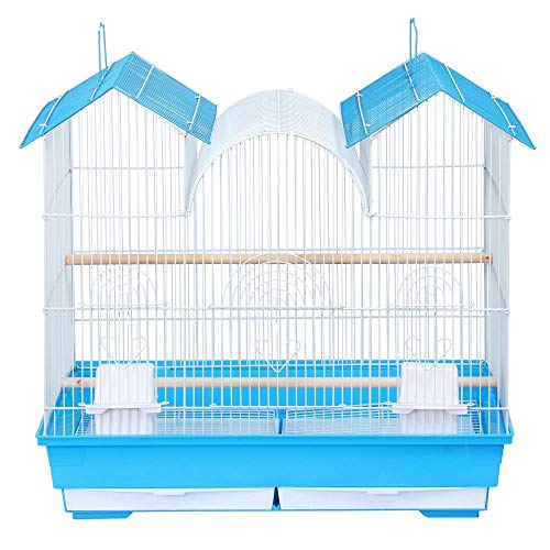 Yaheetech 23''H Triple Roof Bird Cage for Small and Medium Sized Birds w/2 Handles/2 Slide-Out Trays/2 Feeding Cups/2 Bottom Grilles/3 Feeding Doors