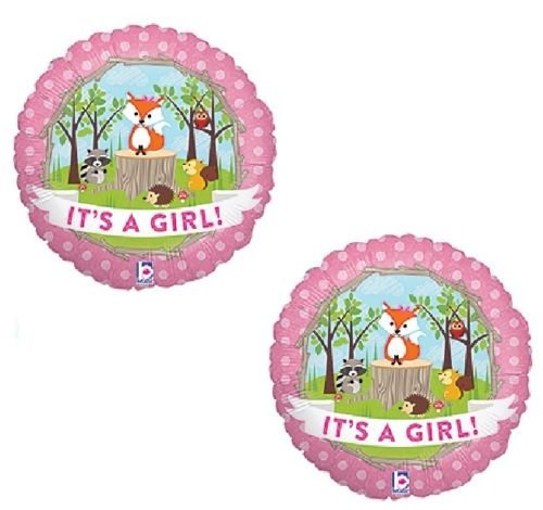 (LoonBalloon Fox Woodland Animals It's a GIRL Welcome Baby Shower (2) 18