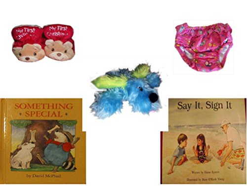 Children's Gift Bundle - Ages 0-2 [5 Piece] - Dan Dee My First Christmas Baby Bear Infant Booties Size 1-2 - Circo Infant Girls Swim Diaper Bikini Bottom Pink Butterfly 18 Months 22-25 lbs - Furry B by Secure-Order-Marketplace Gift Bundles