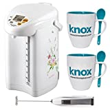 Zojirushi CD-JWC40 Micom Water Boiler & Warmer + Knox Free Mugs and Milk Frother