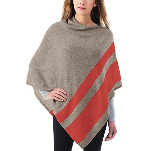 Celeste Ladies' Colorblock Cashmere Blend Travel Wrap Poncho (Orange/Tan) (Natural Womens Celeste)