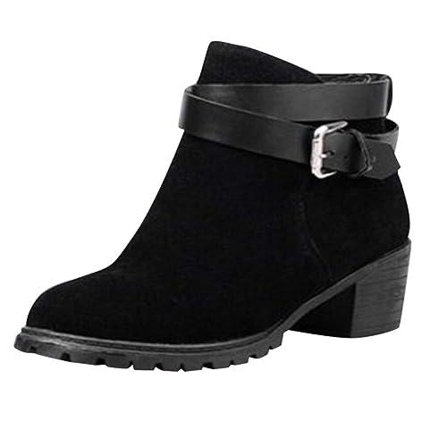 Botas Cortas para Mujer,Mujeres Moda Botines Cortos Hebilla-Correa de tacón Medio Invierno Zapatos Romanos Botas Chelsea para Mujer Botines Tacón Alto ...
