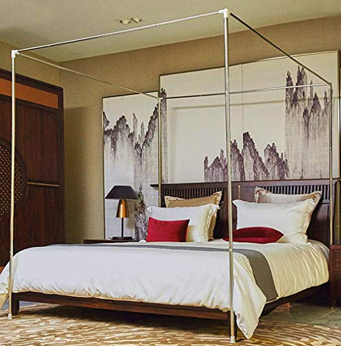 Mengersi Bedding Canopy Bed Frame Post (Queen, Silver)
