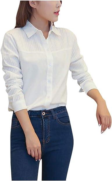 Riou Camisa Mujer Raya V-Cuello Manga Larga Casual Suelto Blusa Blanco y Top Mode Elegante Basica Camiseta Oficina Casual Verano Invierno Primavera Shirts: Amazon.es: Ropa y accesorios