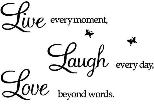 Rertcioph Live Every Moment Laugh Every Day Love Beyond Words Wall Sticker Motivational Wall Decals Family Inspirational Wall Stickers Quotes Arts Crafts Sewing