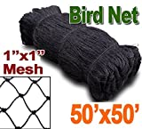 "25' X 50' or 50' X 50' Net Netting for Bird Poultry Aviary Game Pens New 1"" Square Mesh Size (50' x 50')"