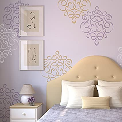 Amazon Com Ribbon Damask Wall Stencil Large Classic Design For
