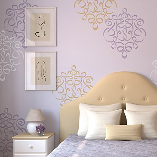 Ribbon Damask Wall Stencil - Large Classic Design for Painting Wall Art in Nursery or Bedroom -
