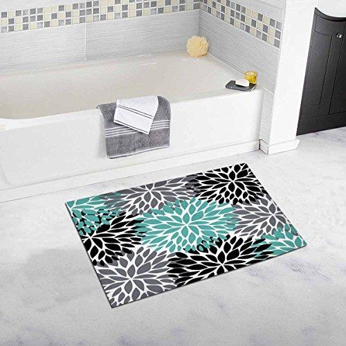 INTERESTPRINT Dahlia Pinnata Flower Teal Black Gray Bath Mat Soft Bathroom Rugs Non-Slip Rubber 20W X 32L Inches