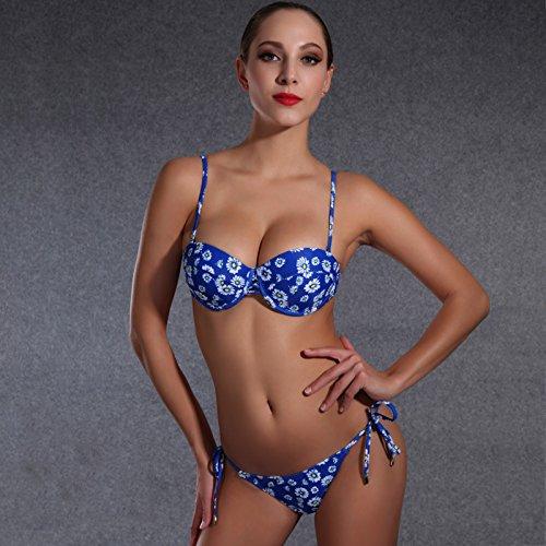 SHISHANG Traje de baño delgado de las resortes calientes del traje de baño de las señoras del bikiní Europa y la alta flexibilidad ambiental popular de los Estados Unidos Blue