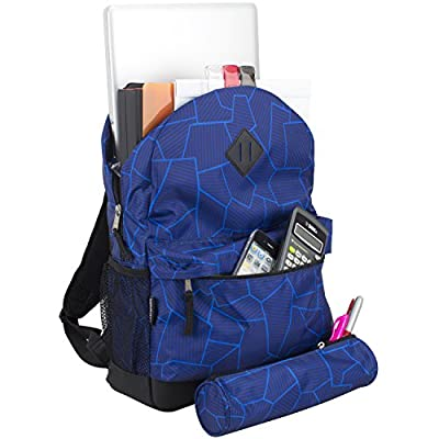 Eastsport Dome Backpack with FREE Pencil Case, Blue Geo Cracks Print | Kids' Backpacks