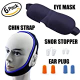 6 in 1 Dream Sleep Set Viaky 6 Sleeping Accessories – Chin Strap \Snore Stopper\EyeMask\Earplugs Stop Snoring Naturally and Instantly - Fully Blocks Light and Sounds For Perfect Sleep