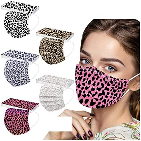 【USA in Stock 】 50 Pack Adults Colorful Leopard Print Disposable Face Masks with Nose Clip Face Covering Face Protection for Women, Fashion Universal Outdoor Breathable 3 Ply Earloop Face Fabric