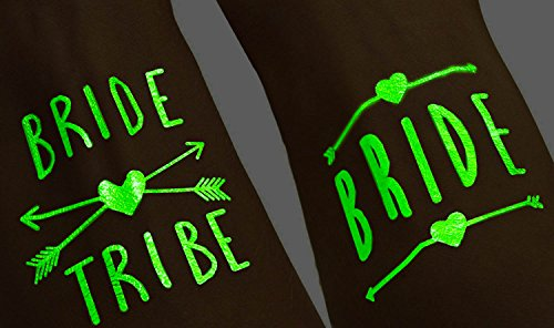 (12 pack) Glow In The Dark - Bride Tribe Temporary Tattoos For A Bachelorette - In Glow Make How The To Dark Party A