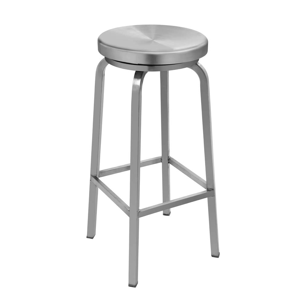 IRICA Stainless Steel Swivel Round Seat Backless Bar Hgt Stool, Commercial Quality, Satin Brushed Finish, 30 inches Seat Hgt, Indoor Porch Use, 1 Pack by IRICA