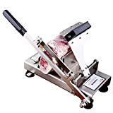 Meat Slicer Manual Control Stainless Steel Automatic Sending Meat Frozen Meat Slicer Cutting Beef Mutton Vegetable Sheet Home Kitchen or Business Use 388DY