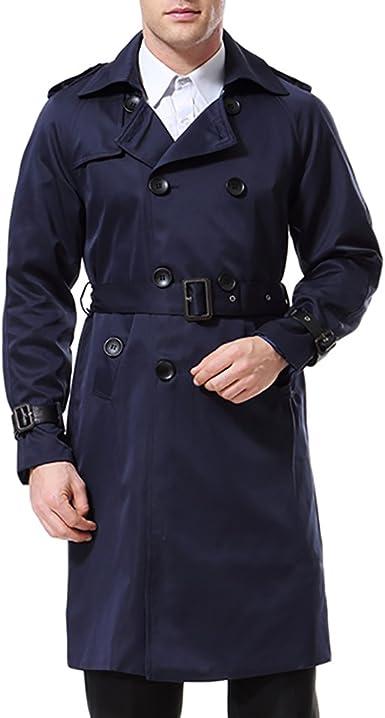 HERREN TRENCHCOAT LANG Slim Zweireihiger Mantel im
