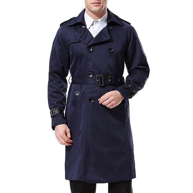 innovative design a9e7c 3a272 AOWOFS Herren Trenchcoat Lang Slim Fit Zweireihiger Mantel im Militärischen  Stil Trench Coat mit Gürtel Frühling
