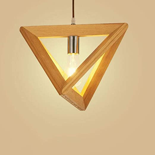 Lámpara colgante E27 madera comedor colgante luz retro industrial triángulo geométrico diseño lámparas de techo comedor mesa dormitorio comedor cocina panadería decoración luces: Amazon.es: Iluminación