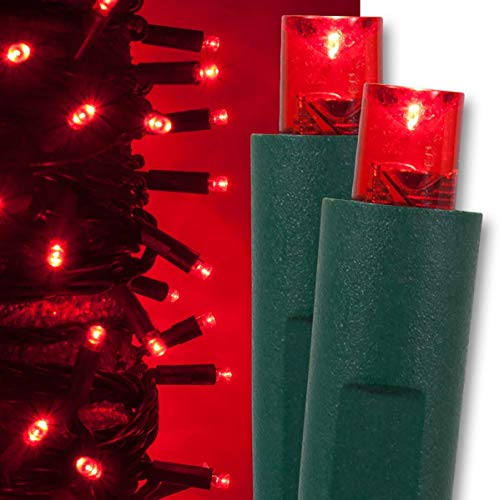 Kringle Traditions Red LED Christmas Mini String Light Set, 50 Lights, 17 ft Indoor/Outdoor Red Christmas Lights Decorations Valentines Day Lights Party Christmas Tree Lights Red, 4 Spacing