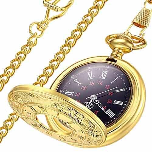 LYMFHCH Vintage Gold Quartz Pocket Watch, Roman Numerals Scale Mens Womens Watch with Chain