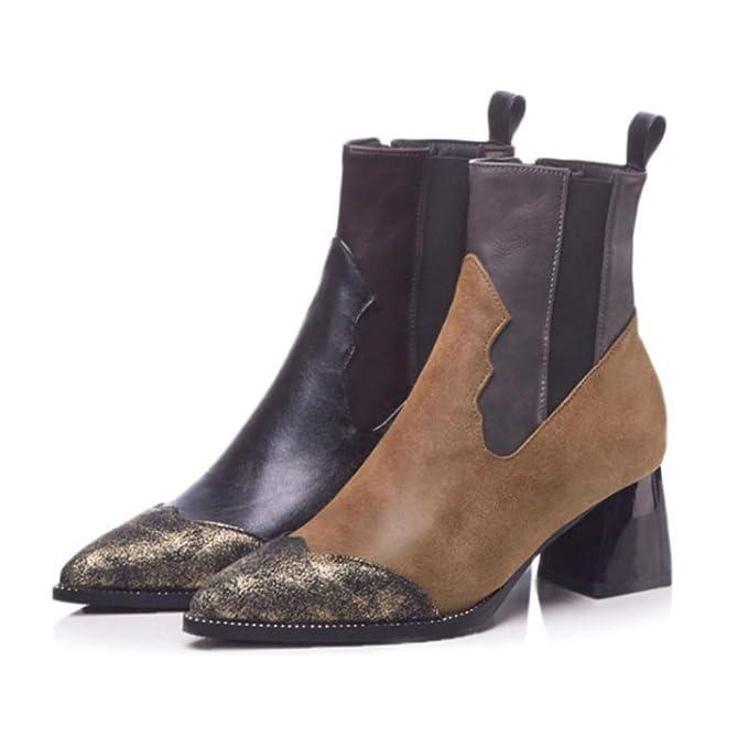 Zapatos De Moda Para Mujer Botines En Punta Botas De Chelsea Piel De Serpiente Bloque Elástico Tacón Alto 6 Cm: Amazon.es: Ropa y accesorios