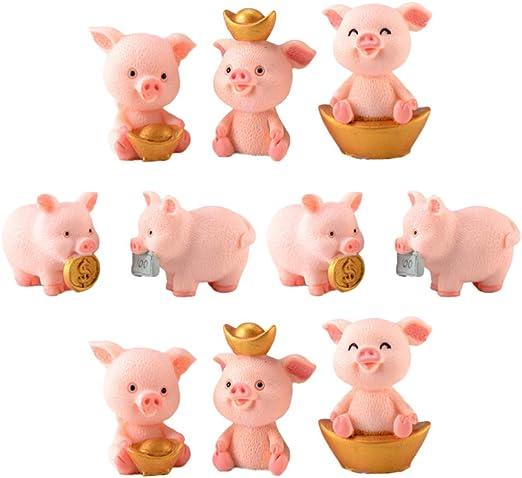 HEALLILY estatuilla en miniatura de cerdo juguete de colección de animales lindos para jardín de hadas casa de muñecas bonsai micro paisaje decoración 10 piezas: Amazon.es: Hogar