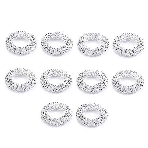 (Rhame 10Pcs Finger Massage Ring Acupuncture Health Care Body Acupressure Massager New   Model RNG - 8096   10pcs Silver)