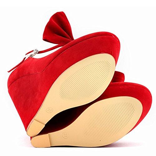 Azbro Moda Estilete Cuña Tacón Plataforma Lazo Correa Tobillo Color Caramelo Rojo