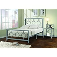 Home Source Industries 13161 Twin Metal Bed Frame with Decorative Headboard and Footboard, Silver