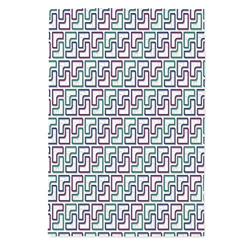 - Geometric Fashionable Tablecloth,Trippy Tiles Maze Branching Path Puzzle Style Digital Motif for Secretaire Square Table Office Table,72''W X 90.2''L