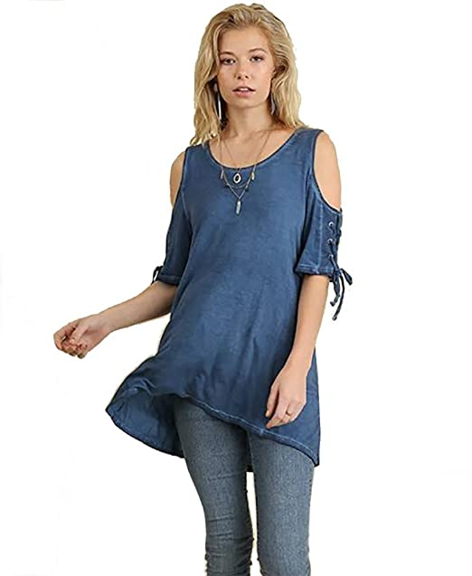 46dbbc200df8a Umgee Women s Cold Shoulder Scoop Neck Tunic with Lace Up Drawstring  Sleeves Small Denim