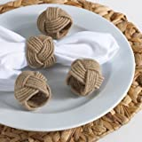 Classic Braided Jute Burlap Napkin Rings, Natural Color, Set of 4