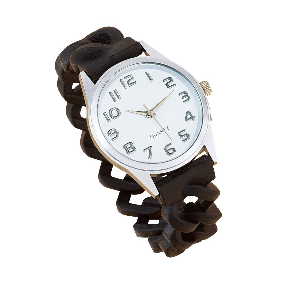 Women's Stylish Easy-to-Read Silicone Wrist Watch with Braided Stretch Band for Maximum Comfort